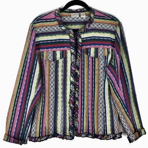 Chico's Multi Colored Striped Jacket